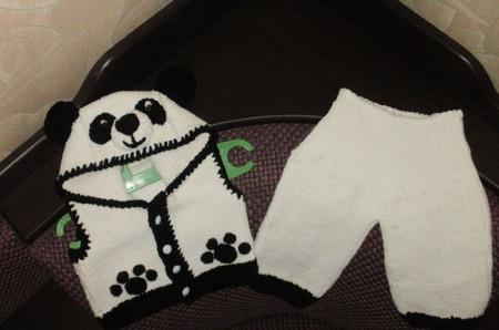 Жилет и штанишки Мишка-панда ручной работы на заказ