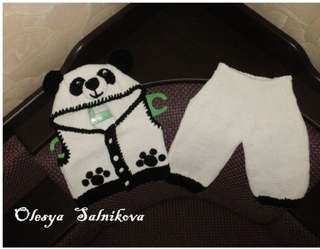 Безрукавка  мишка-панда ручной работы на заказ