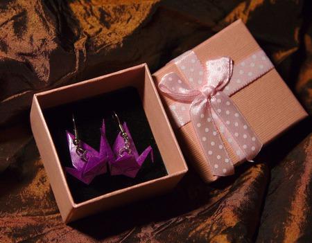 Серьги и клипсы с журавликами-оригами (31 ЦВЕТ!) ручной работы на заказ