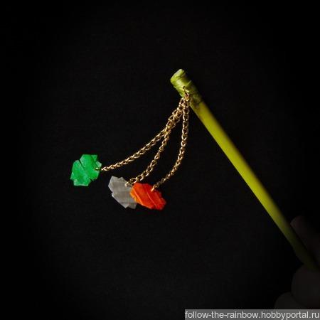 Шпильки с четырёхлистиниками клевера (ирландский триколор) ручной работы на заказ
