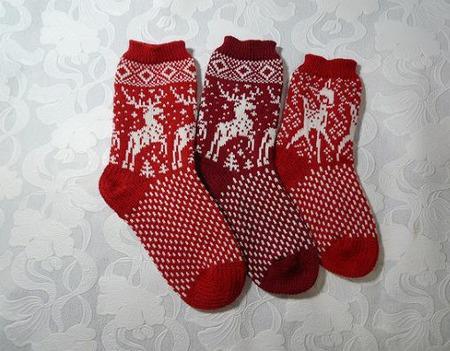 Носки с оленями шерстяные ручной работы на заказ