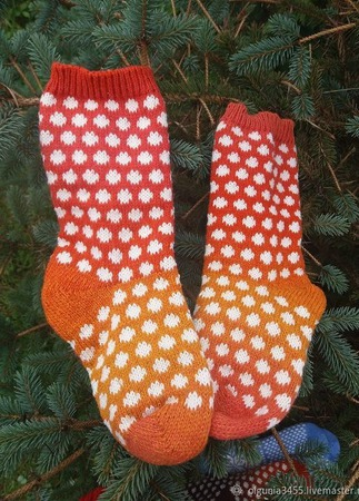 Носки в горошек ручной работы на заказ