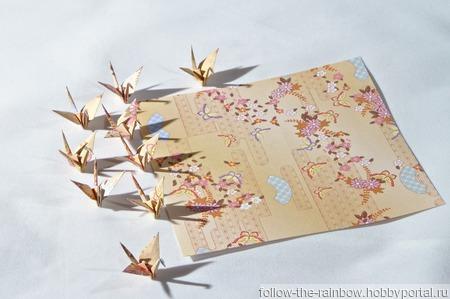 Серьги и клипсы с журавликами-оригами (длинные, с цепочкой) ручной работы на заказ