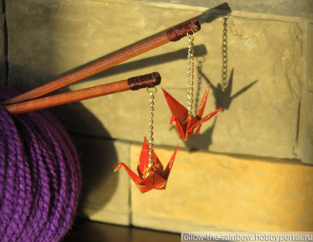 Шпильки-палочки с журавликами-оригами ручной работы на заказ