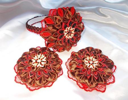 Комплект в красно-коричневых оттенках ручной работы на заказ