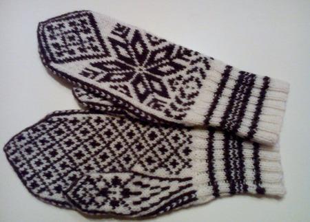 """Варежки """"Снежинка-2"""" ручная работа жаккардовые с норвежским орнаментом ручной работы на заказ"""