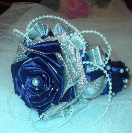 """Ободок """"Синяя роза"""" ручной работы на заказ"""