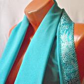 """Голубой палантин ручной работы из ткани """"Голубая бирюза"""""""