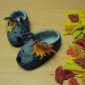 Тапочки валяные детские Ёжики и осень серые