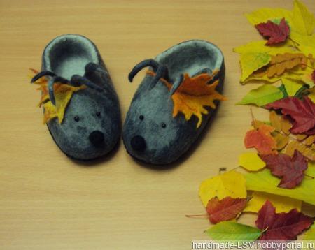 Тапочки валяные детские Ёжики и осень серые ручной работы на заказ
