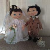 Свадебная пара Жених и Невеста. Текстильные куклы.
