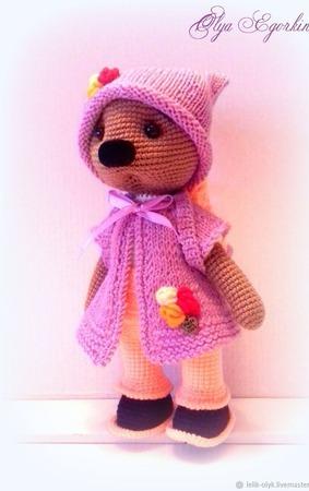 Нежная мишутка в фиолетовом ручной работы на заказ