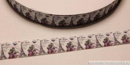 """Лента репсовая с рисунком """"Париж"""", ширина 22 мм ручной работы на заказ"""