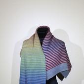 Большой теплый шерстяной шарф в радужную полоску