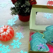 Вязаные ёлочки (подарочный набор).Цвет Голубой