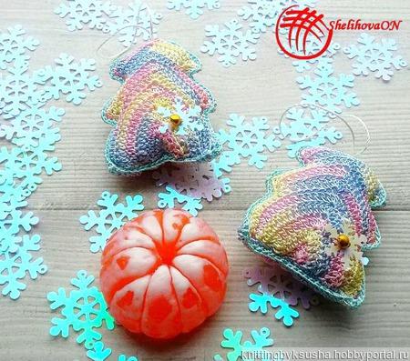 Вязаные ёлочки (подарочный набор).Цвет Меланж ручной работы на заказ
