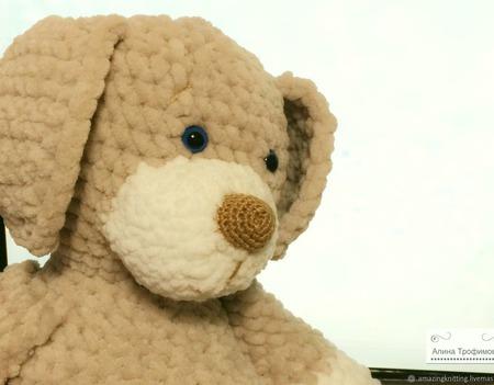 Плюшевая собачка Дружок ручной работы на заказ