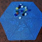 Салфетка крючком Голубая гортензия. Мини-скатерть, украшение для дома