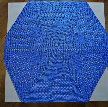 Салфетка крючком Голубая гортензия. Мини-скатерть, украшение для дома ручной работы на заказ