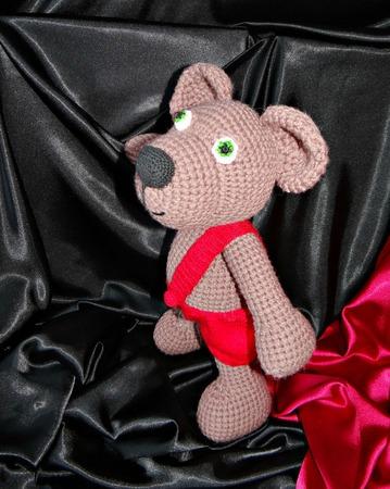 Мишка амигуруми. Вязанный крючком медведь в штанишках ручной работы на заказ
