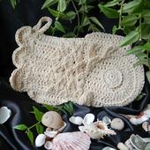 Льняная натуральная мочалка-варежка Рыбка. Вязаная игрушка для ванны.