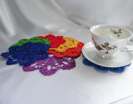 Набор салфеток под чашки и кружки Радужное настроение. Лето и радуга. Чаепитие ручной работы на заказ