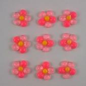 """Кабошон """"Цветок"""", пластик, 18 мм, цвет - розовый"""