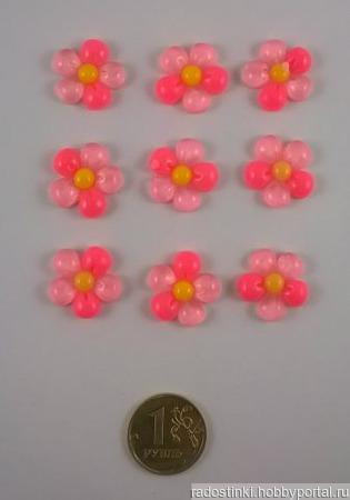 """Кабошон """"Цветок"""", пластик, 18 мм, цвет - розовый ручной работы на заказ"""