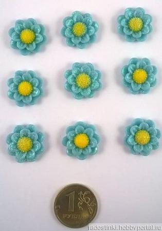 """Кабошон """"Цветок"""", пластик, 19 мм ручной работы на заказ"""