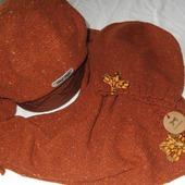 """Твидовый комплект 3 предмета, шапка берет и бактус """"Золотая осень"""""""