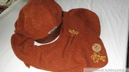 """Твидовый комплект 3 предмета, шапка берет и бактус """"Золотая осень"""" ручной работы на заказ"""