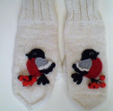 Варежки -Снегири ручной работы на заказ