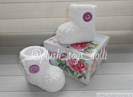 Плюшевые пинетки Зефирки Мастер класс, пинетки для новорожденных ручной работы на заказ