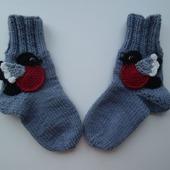 Вязаные носки  Снегири