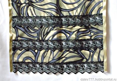 Палантин ручной работы «Черная роза» модель 3 ручной работы на заказ