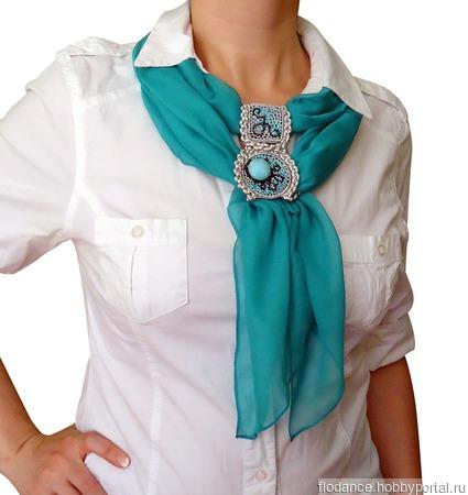 """Шейный платок-галстук """"Бирюза"""" ручной работы на заказ"""