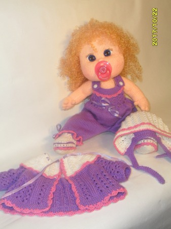 Кукла  с соской связана спицами для вас ручной работы на заказ