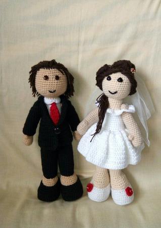 Вязаные куклы жених и невеста. ручной работы на заказ