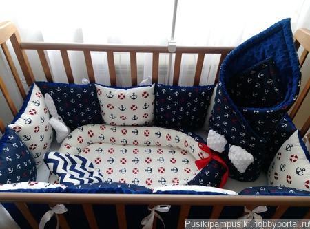 Морской комплект в кроватку для новорожденных ручной работы на заказ