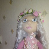 Кукла текстильная,фея  Мая.трикотаж кукольный,волосы натуральные локон