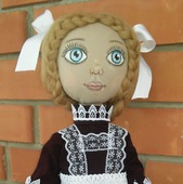 Кукла текстильная. интерьерная. Наташка первоклашка