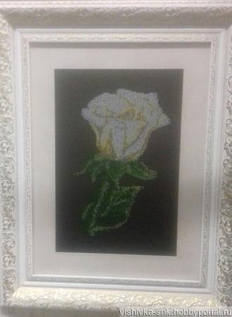 Белая роза ручной работы на заказ