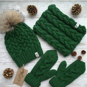 Вязаный комплект женский  шапка, снуд и варежки