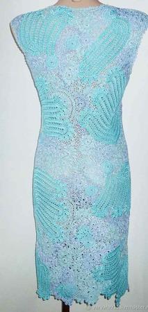 Кружевное вязаное платье ручной работы на заказ