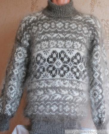 """Пуховый свитер """"Весенний цветок"""" ручной работы на заказ"""