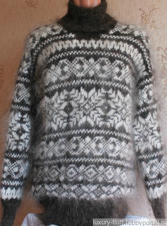 """Пуховый свитер """"Зимние узоры"""" ручной работы на заказ"""