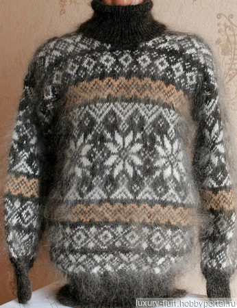 """Пуховый вязаный свитер """"Стимул"""" ручной работы на заказ"""