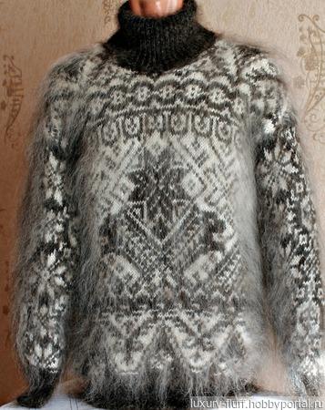 """Пуховый свитер """"Полярная звезда"""" ручной работы на заказ"""