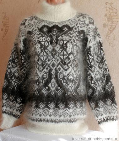 """Пуховый вязаный свитер """"Верона"""" ручной работы на заказ"""