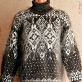 """Пуховый вязаный свитер """"Экстрим"""""""